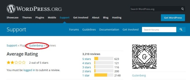 Gutenberg Reviews from WordPress.org